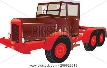 A Vintage Red and Maroon Articulated Truck isolated on white