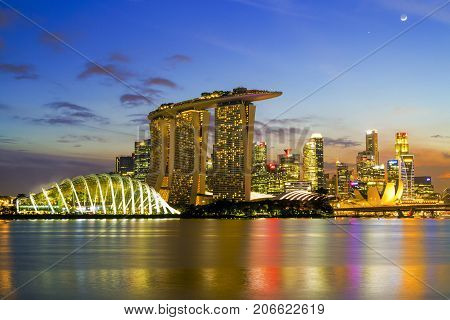 Singapore City, Singapore: Sep 29,2017: Singapore Skyline. Singapore`s Business District, Marina Bay