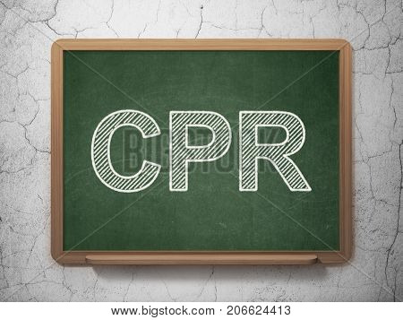 Medicine concept: text CPR on Green chalkboard on grunge wall background, 3D rendering