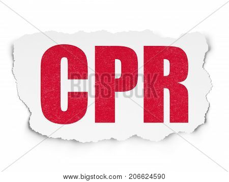 Health concept: Painted red text CPR on Torn Paper background with  Tag Cloud