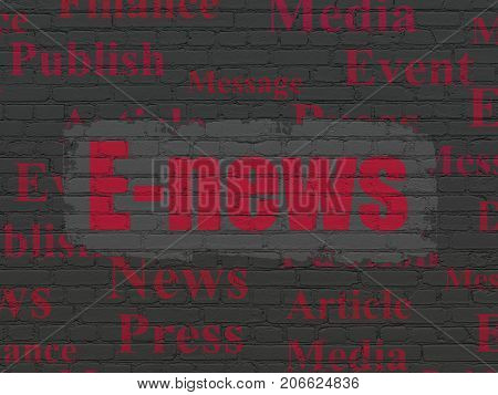 News concept: Painted red text E-news on Black Brick wall background with  Tag Cloud