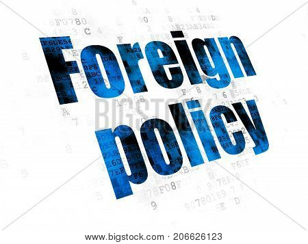 Politics concept: Pixelated blue text Foreign Policy on Digital background