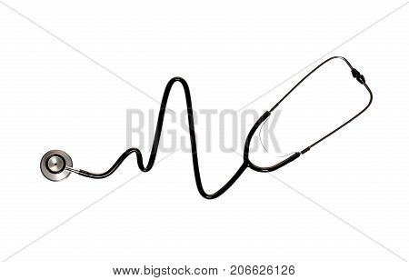 Stethoscope In The Shape Of Heart Beat Isolated On White Background.