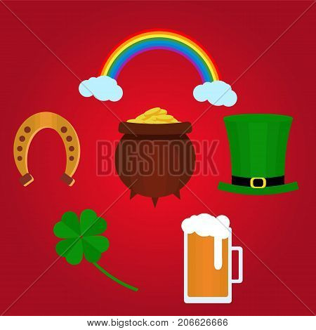 Designe elements for St. Patricks Day with shamrock, green hat, beer and pot with coins. Vector. Flat. Could be used for St. Patricks Day cards, invitations.