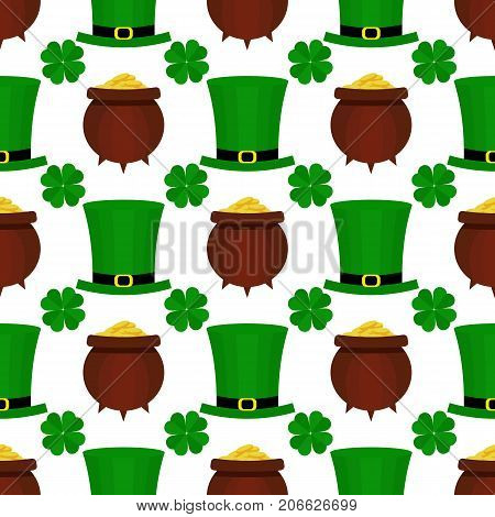 Seamless pattern with green hat, pot with gold and clover for St. Patricks Day. St. Patrics Day background for cards, invitations.