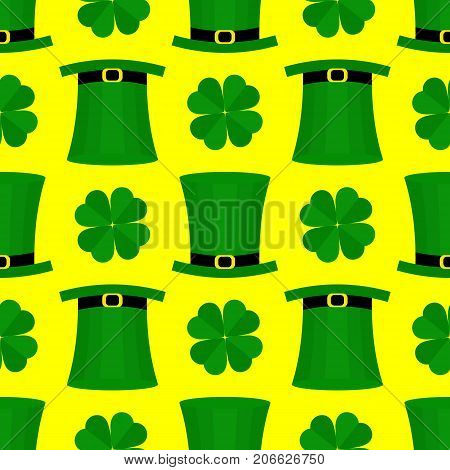 Seamless pattern with green hat and shamrock for St. Patricks Day. St. Patrics Day background for cards, invitations.