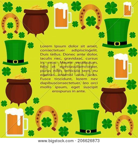 Designe elements for St. Patricks Day with shamrock, green hat, beer and pot with coins. Vector. Flat. Template for St. Patricks Day cards, invitations.