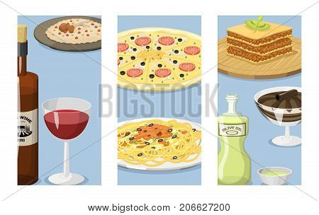 Cartoon italy food cards cuisine delicious ingredient homemade Italian cooking fresh traditional lunch vector illustration. Dish plate sauce vegetarian cooked diet healthy snack.