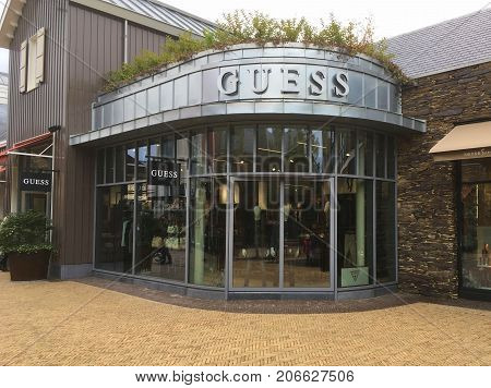 Lelystad, The Netherlands - September 30, 2017: Guess fashion outlet store in Batavia Stad in the city of Lelystad.