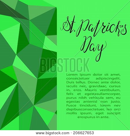 Lettering St. Patricks Day on green polygonal background. Vector. Calligraphy inscription for St. Patricks Day, template for cards, invitations.