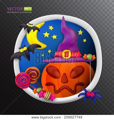 Handmade vector Plasticine round greeting card for Halloween. Vector illustration of moon bat pumpkin spider candy hat and lollipop isolated on transparent background