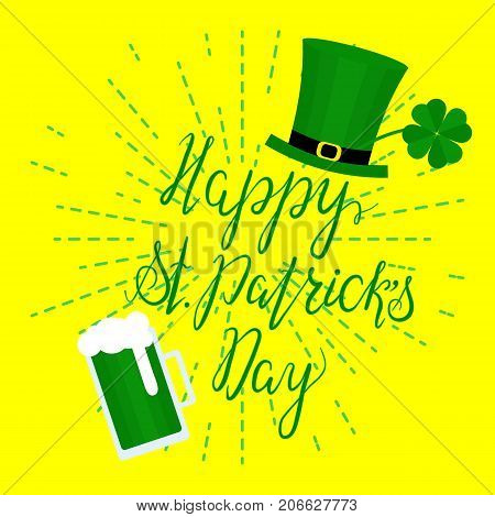 Lettering Happy St. Patricks Day with shamrock, green hat and beer. Hand written. Vector. Calligraphy inscription for St. Patricks Day cards, invitations, poster.