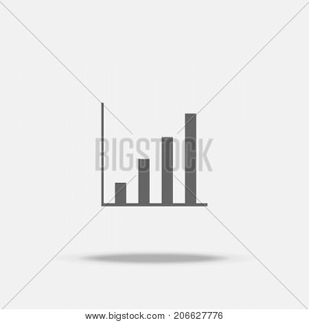 Rise Up Bar Graph Flat Design Vector Icon With Shadow