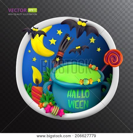 Handmade vector Plasticine round greeting card for Halloween. Vector illustration of moon bat cauldron candle candy broom and lollipop isolated on transparent background