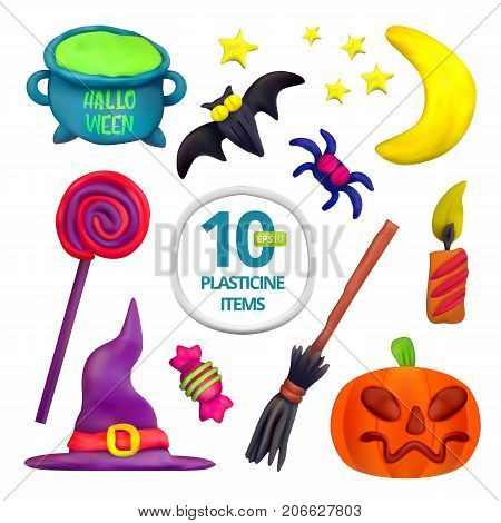 Handmade vector Plasticine set for Halloween. Vector illustration of moon bat pot candle pumpkin broom spider candy hat and lollipop isolated on white background