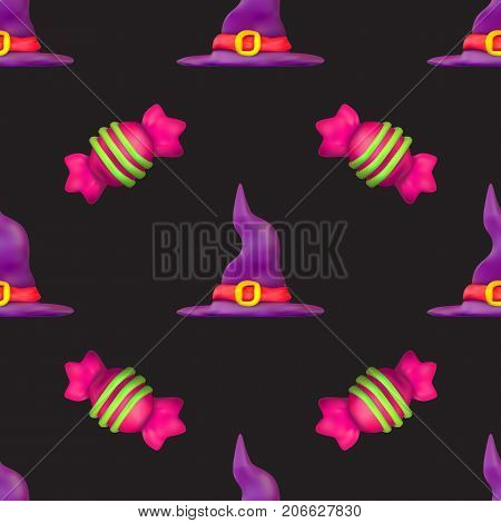 Handmade vector plasticine seamless pattern for Halloween isolated on dark background. Can be used for printing on textile pattern fills textures or gift wrap