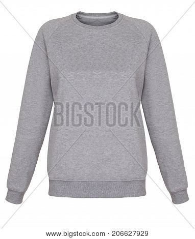Front view of isolated grey sweatshirt on white background