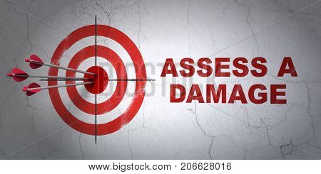 Success Insurance concept: arrows hitting the center of target, Red Assess A Damage on wall background, 3D rendering