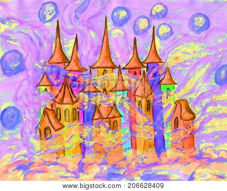 Hand painted Christmas picture or illustration for fairy tales for children, watercolor, Fairy town in winter.