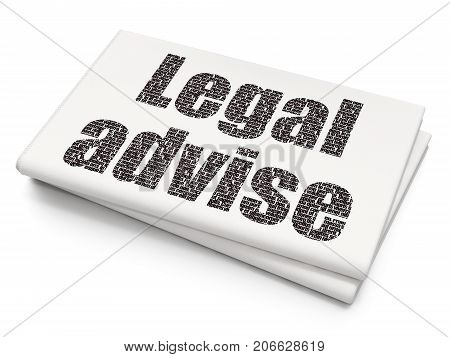 Law concept: Pixelated black text Legal Advise on Blank Newspaper background, 3D rendering
