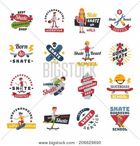 Skateboarders people tricks silhouettes logo badge sport extreme action active skateboarding urban young jump person vector illustration. Freestyle practice boarding teenager skatepark.