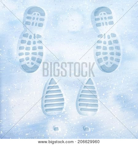 Traces of men's shoes and women's boots in the snow. Clear deep footprints on white winter snow. Track in snow. Overhead view. Face-to-face. Texture of snow surface. Vector illustration background