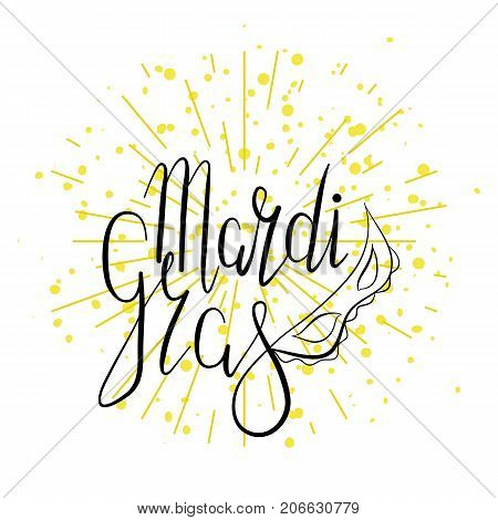 Lettering Mardi Gras with carnival mask on white background with radial dotted rays . Vector. Template for cards, invitations.