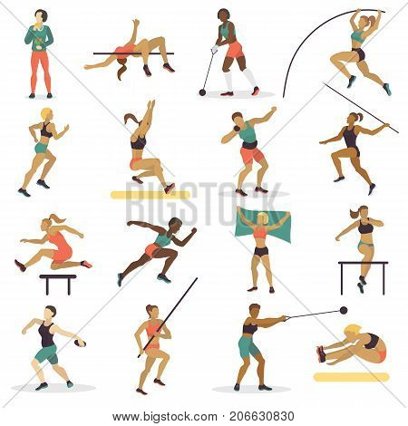 Vector illustration athlete doing different track field sports long jump running hurdles javelin thro, shot put and high jump. High jump athlete sport woman athletics silhouette.