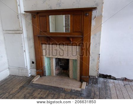 Old Victorian Fire Place in the Victorian Baths in Manchester England