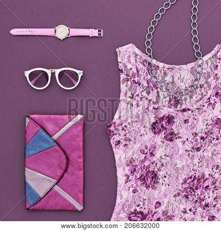 Fashion Lady Outfit. Fashion woman Clothes Accessories Set. Stylish Dress, Glamor Handbag Clutch, Trendy Watches. Fashion Design. Top view Essentials. Creative fashion Urban Minimal