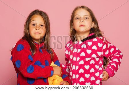 Children With Doubtful Faces And Loose Hair. Girls In Pajamas