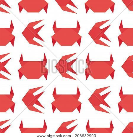 Paper origami crab vector flat illustration fresh seafood claw meal background seamless pattern marine life animal character. Exotic gourmet crustacean shellfish cooked dinner marine fish delicious.