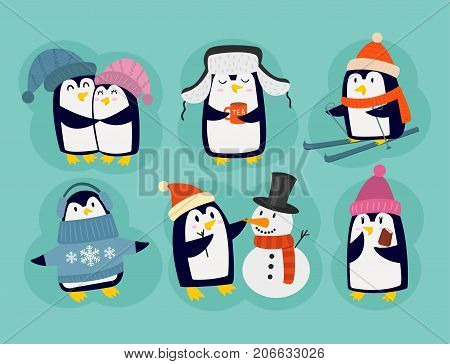 Penguin christmas vector illustration character. Cartoon funny cute animal isolated. Antarctica polar beak pole winter bird. Funny outdoors wild life south arctic.