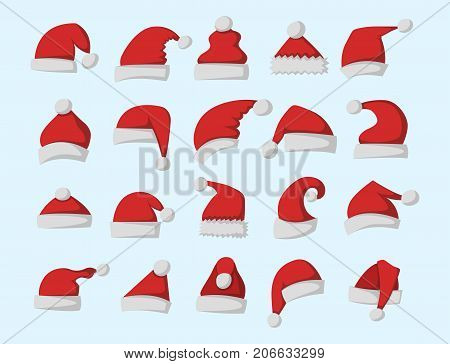Santa claus fashion red hat modern elegance cap element and winter xmas holiday textile accessories top classic clothes vector illustration. Personal design style headdress clothing.