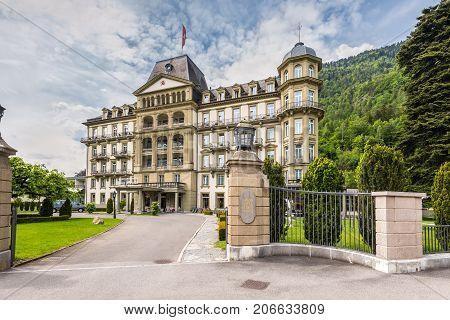 Interlaken Switzerland - May 26 2016: Lindner Grand Hotel Beau Rivage in a prime location in the centre of Interlaken Switzerland.