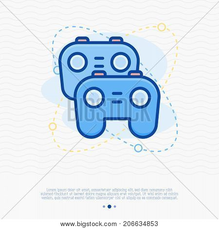 Two game controllers thin line icon. . Simple vector illustration for logo of cybersport.