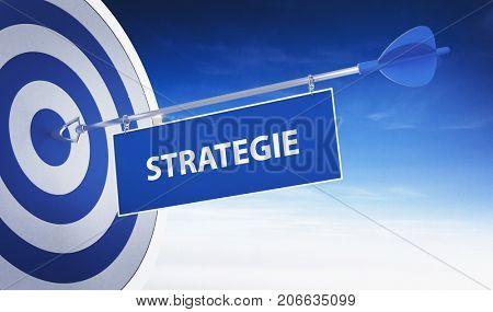 Arrow with German word Strategie (Strategy) hits Bulls eye. 3d Rendering.
