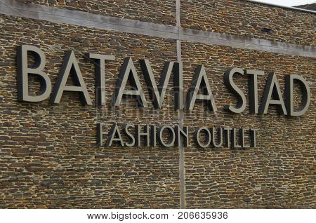 Lelystad, The Netherlands - September 30, 2017: Logo of the first factory outlet center in The Netherlands, Batavia Stad Fashion Outlet  in the city of Lelystad.