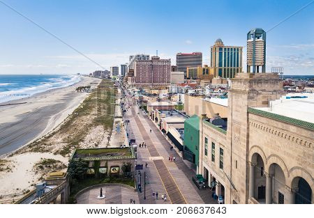 Atlantic City, Usa - September 20, 2017: Atlantic City Boardwalk