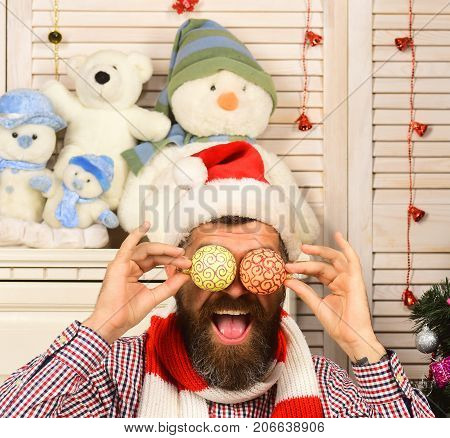 Santa Claus With Funny Face With Decoration Balls For Eyes