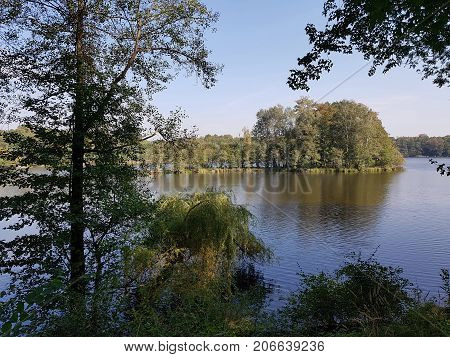 The lake Amtssee near of the former abbey Chorin in Germany