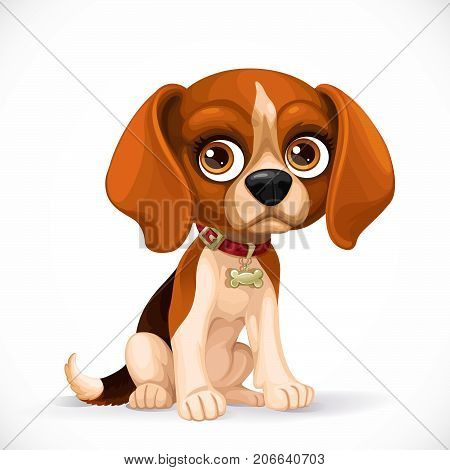 Cute Cartoon Lop-eared Beagle Puppy Sit On White Floor Isolated On A White Background