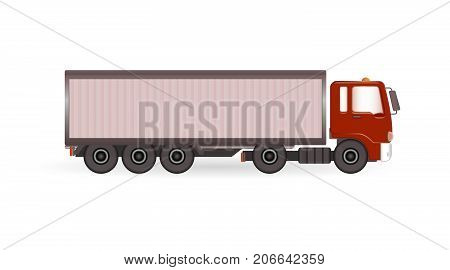 Vector truck trailer with red cabin template isolated on white background. Cargo delivering vehicle.