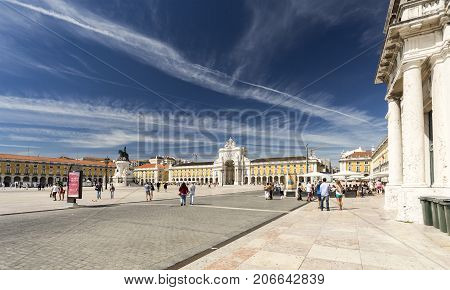 LISBON, PORTUGAL - September 25, 2016: The Commerce Square commonly known as Terreiro do Paco is the largest square in Lisbon Portugal