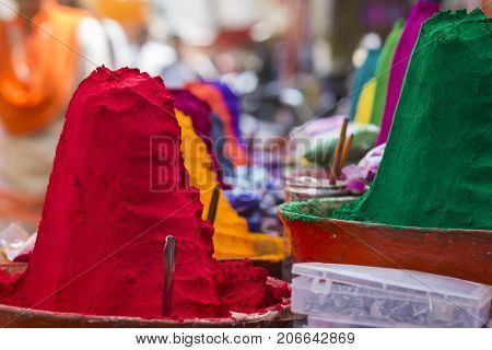 Colorful Powder For Sale On The Festive Occassion Of Holi In India.