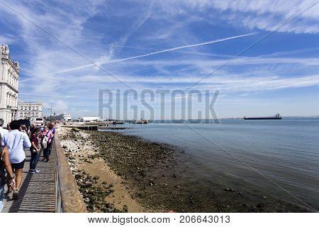 LISBON, PORTUGAL - September 25, 2016: River beach in the town centre a unique veranda onto the Tagus River in Lisbon Portugal