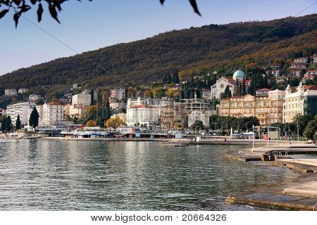 Panoramic view of Mediterranean town Opatija Croatia poster