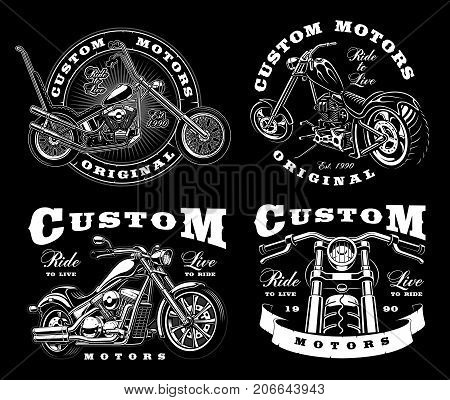 Set of 4 vintage biker illustrations badges logos prints. (VERSION FOR DARK BACKGROUND). All elements and text are the separate layer.