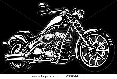 Vintage chopper illustration. (VERSION WITH DARK BACKGROUND).