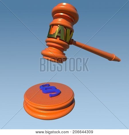 Law and justice conceptual 3D illustration. Judge hammer on blue sky background. Collection.